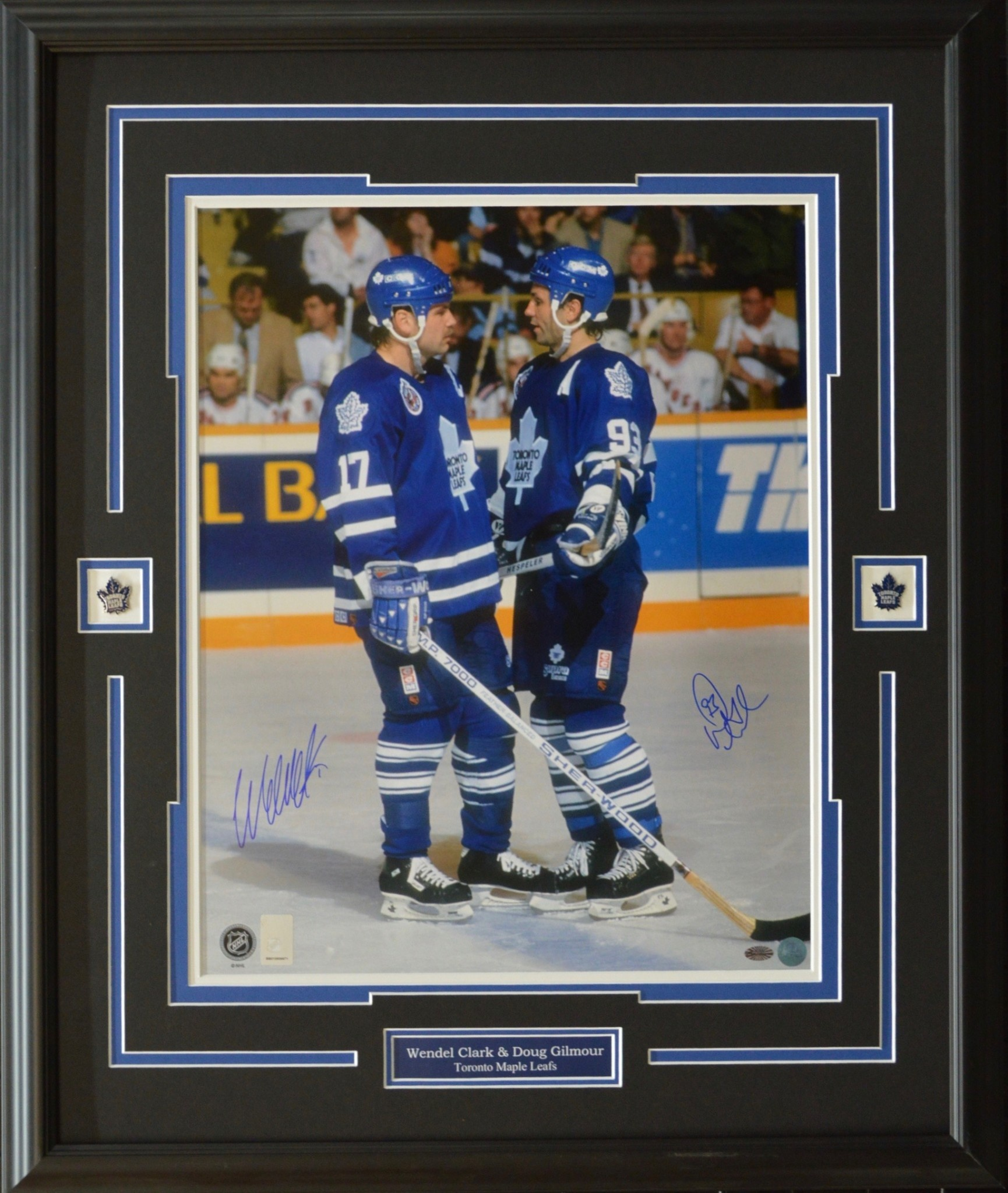 newest collection b1612 fee39 WENDEL CLARK AND DOUG GILMOUR AUTOGRAPH 16X20 PHOTO 23X28 FRAME - TORONTO  MAPLE LEAFS