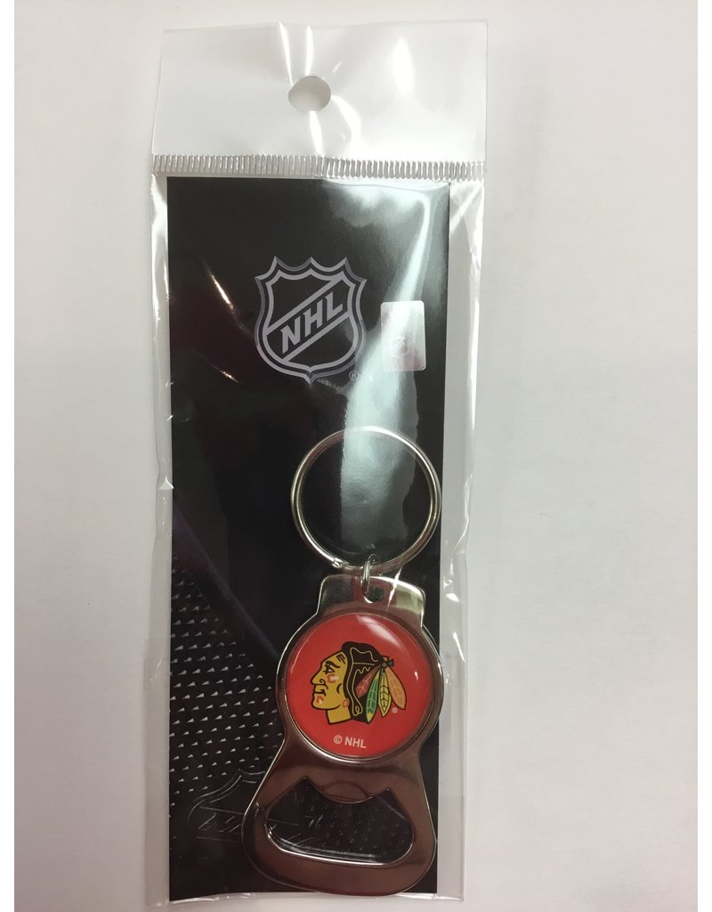 BOTTLE OPENER KEYCHAIN CHICAGO BLACKHAWKS