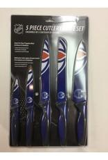 5 PIECE KNIFE SET BLUE EDMONTON OILERS