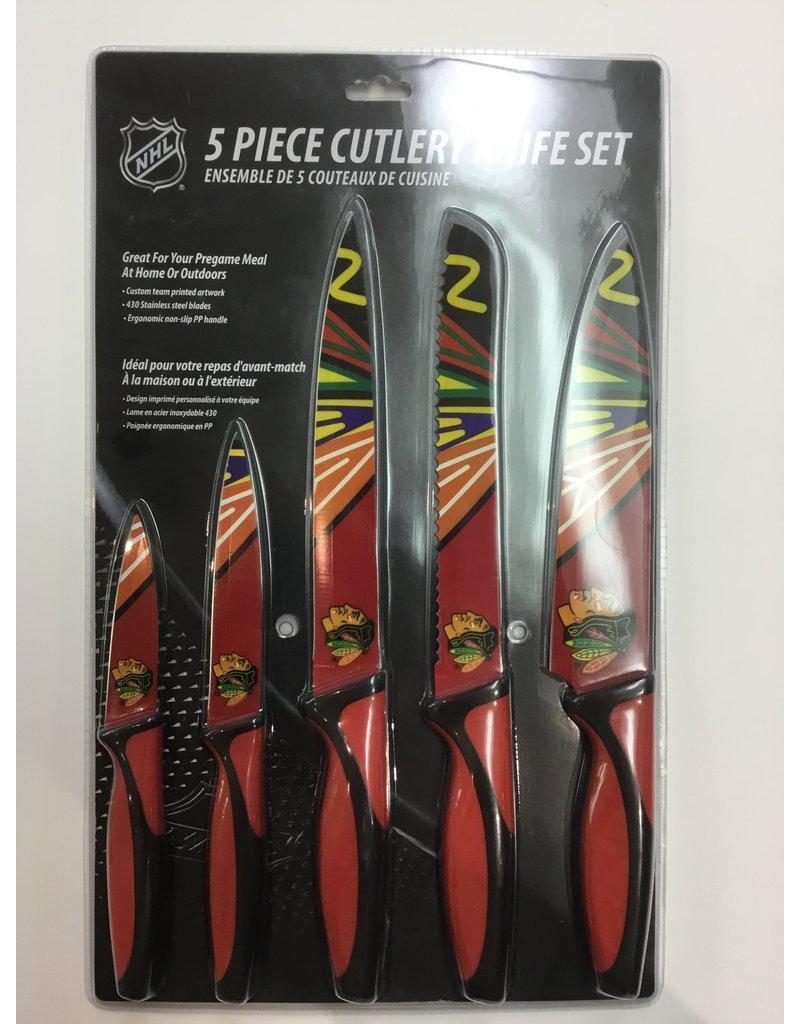 5 PIECE KNIFE SET CHICAGO BLACKHAWKS