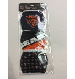 CHICAGO BEARS FACE MASK COVERINGS 3 PACK
