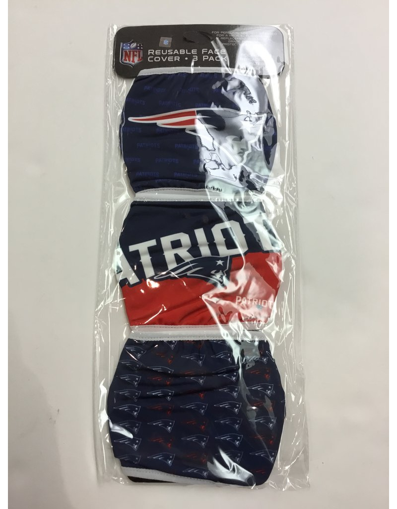 NEW ENGLAND PATRIOTS FACE MASK COVERINGS 3 PACK