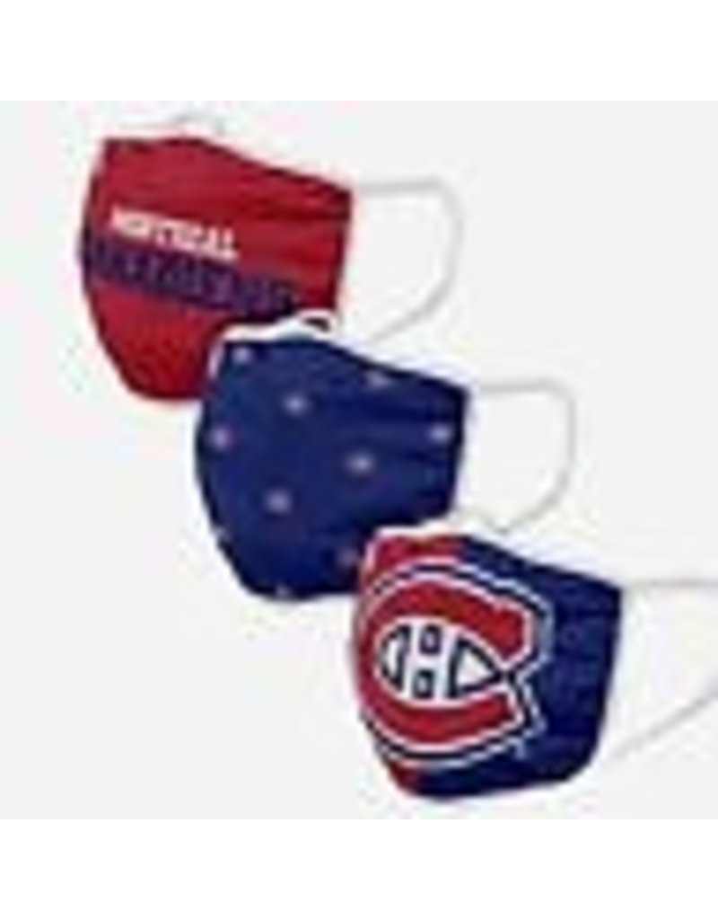 MONTREAL CANADIENS YOUTH FACE MASK COVERINGS 3 PACK