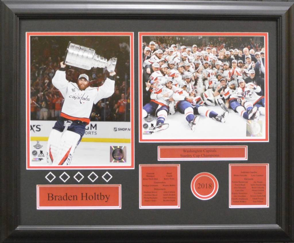 BRADEN HOLTBY 2018 STANLEY CUP CHAMPIONS - WASHINGTON CAPITALS 16X20 FRAME