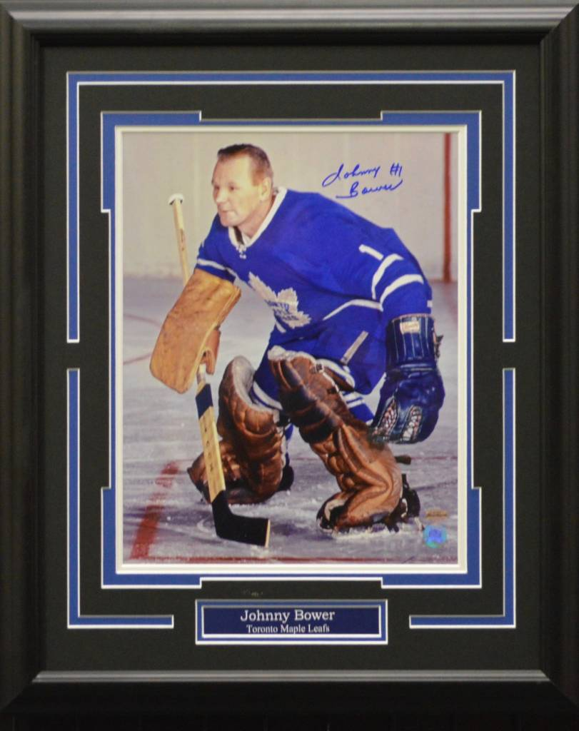 JOHNNY BOWER AUTOGRAPH 16X20 FRAME - TORONTO MAPLE LEAFS
