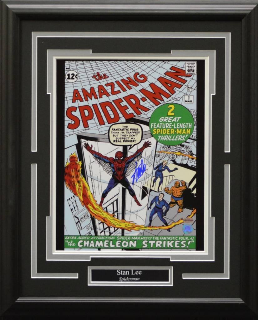 STAN LEE SPIDERMAN - AMAZING SPIDERMAN AUTOGRAPH 16X20 FRAME