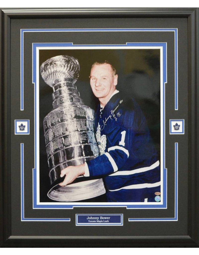 JOHNNY BOWER AUTOGRAPH 16X20 PHOTO 23X28 FRAME - TORONTO MAPLE LEAFS