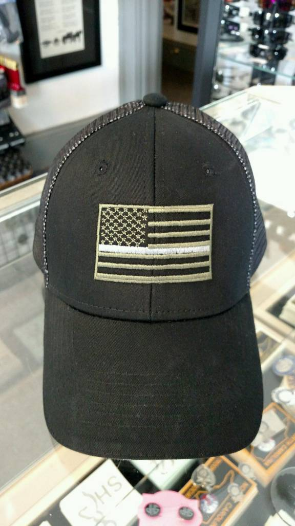 Black and Grey Mesh Hat w/ Olive Green Flag