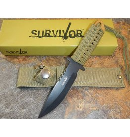 "Survivor Knife Lt Green Sheath 4"" Blade"