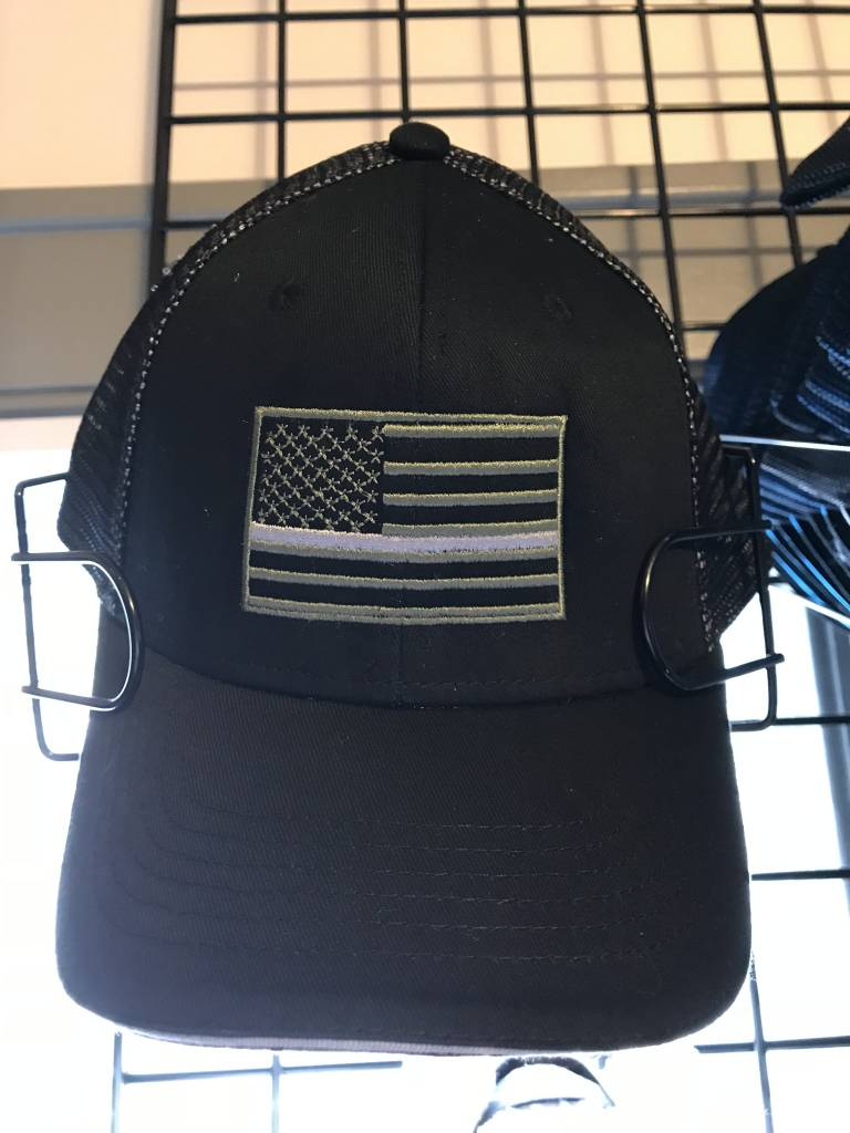 Grey on Grey Thin Blue Line Mesh Hat