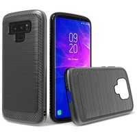 Metallic PC TPU Brushed Case with Carbon Fiber Edge for Galaxy Note 9