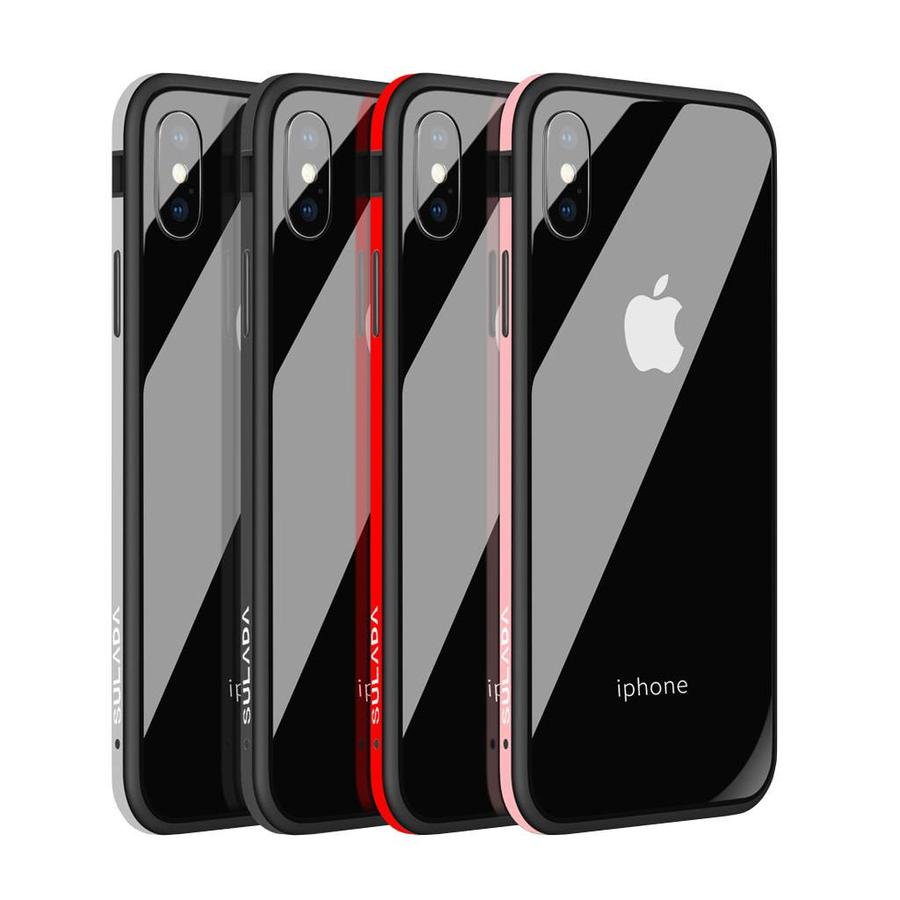 SULADA Ultra Thin Nano-Glass with Metal Bumper Case for iPhone X / XS