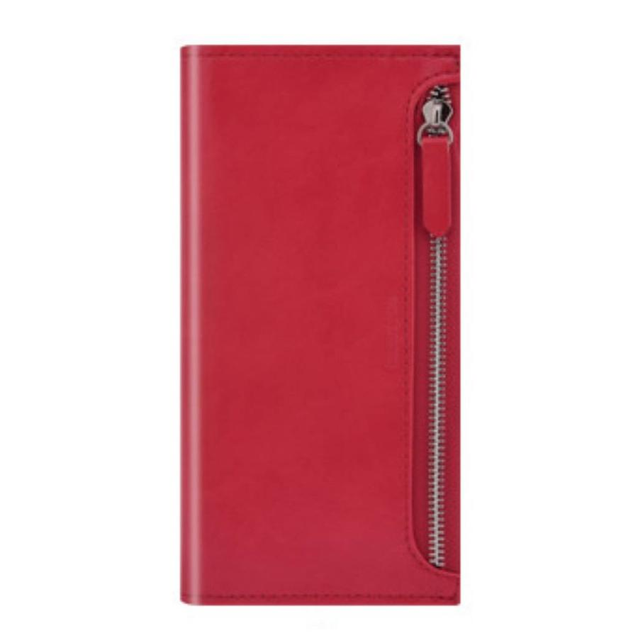 PU Leather Wallet With Credit Card Slots and Zipper for iPhone XS