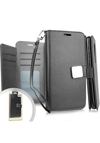 Hybrid PU Leather Metallic Flip Cover Wallet Case with Credit Card Slots for LG K30 / K10 (2018)