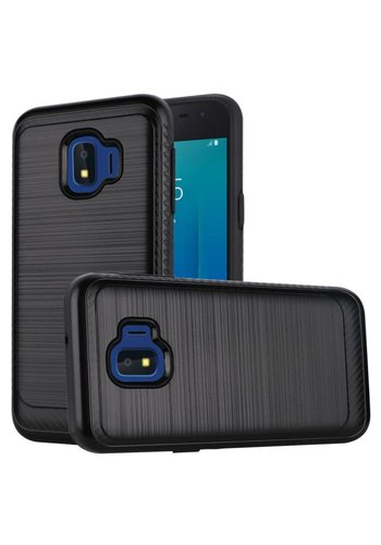 Metallic PC TPU Brushed Case with Carbon Fiber Edge for Galaxy J2 Core (2018)