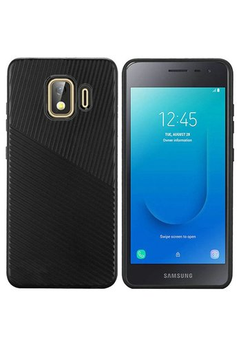 Textured Embossed Lines Hard Plastic PC TPU Case for Galaxy J2 Core (2018)