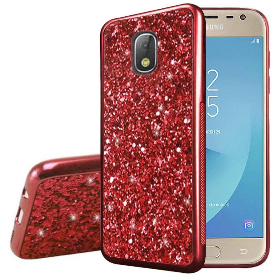 Metallic Chrome Frozen Glitter Case for Galaxy J3 Achieve (2018)