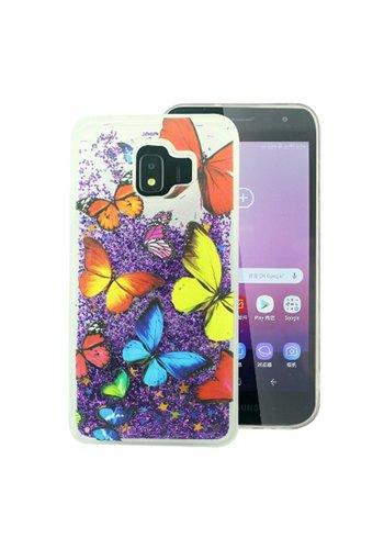 PC TPU Liquid Quicksand Clear Design Case for Galaxy J2 Core (2018) - Butterflies