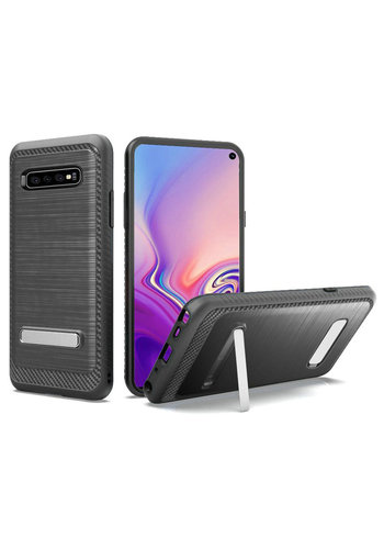 Metallic PC TPU Brushed Case Carbon Fiber Edge with Kickstand for Galaxy S10