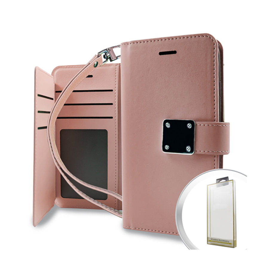 Hybrid PU Leather Metallic Flip Cover Wallet Case with Credit Card Slots for LG Aristo 2 & 3 / Tribute Dynasty / Empire