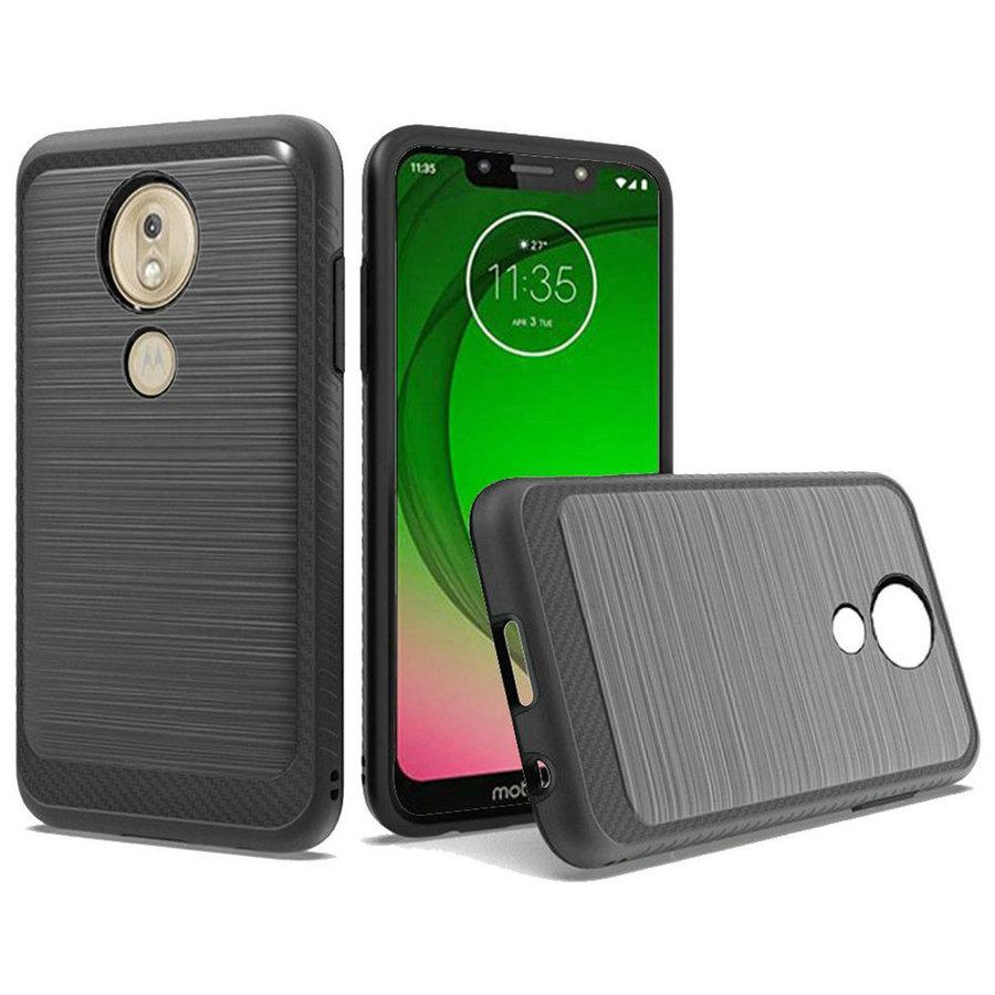 Metallic PC TPU Brushed Case with Carbon Fiber Edge for Motorola Moto G7 Play