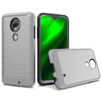 Metallic PC TPU Brushed Case with Carbon Fiber Edge for Motorola Moto G7 Power / Supra