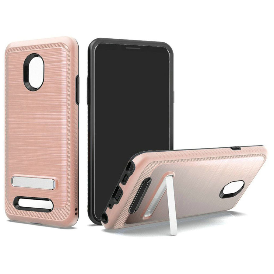 Metallic PC TPU Brushed Case Carbon Fiber Edge with Kickstand for Foxxd Miro (L590A)