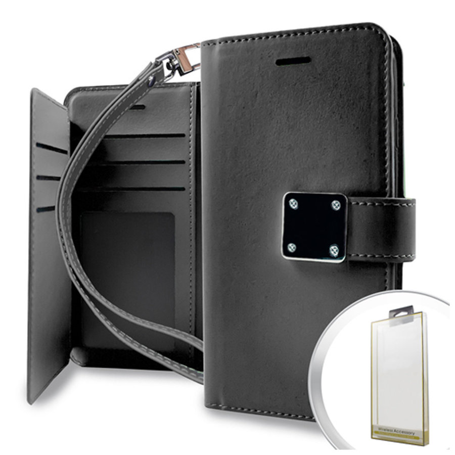 Hybrid PU Leather Metallic Flip Cover Wallet Case with Credit Card Slots for Motorola Moto G7 Power / Supra