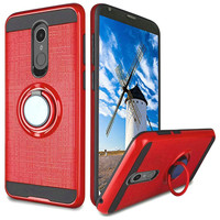 PC TPU Embossed Line Design Case with Magnetic Ring for LG Stylo 4