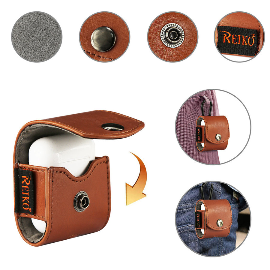 Reiko Leather Pouch with Carabiner Clip For Airpods / TWS Earphones (HP106)