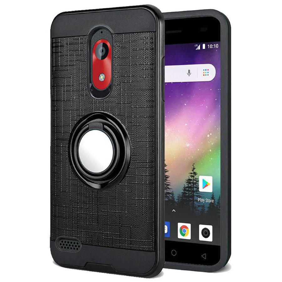 PC TPU Embossed Line Design Case with Magnetic Ring for Coolpad Legacy Go / Illumina