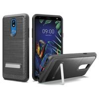 Metallic PC TPU Brushed Case Carbon Fiber Edge with Kickstand for LG K40
