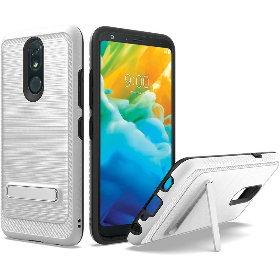 Metallic PC TPU Brushed Case Carbon Fiber Edge with Kickstand for LG Stylo 5