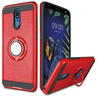 PC TPU Embossed Line Design Case with Magnetic Ring for LG K40