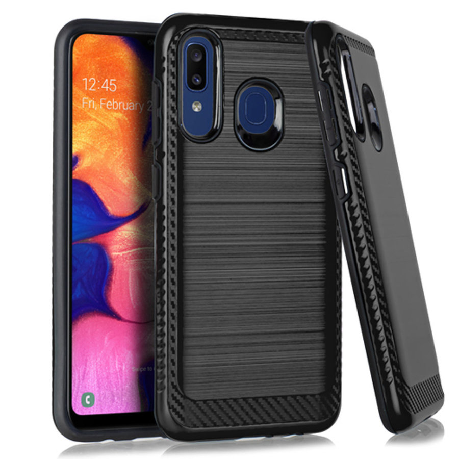 Metallic PC TPU Brushed Case with Carbon Fiber Edge for Galaxy A20