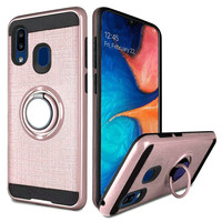 PC TPU Embossed Line Design Case with Magnetic Ring for Galaxy A20