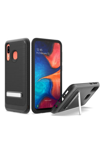 Metallic PC TPU Brushed Case Carbon Fiber Edge with Kickstand for Galaxy A20