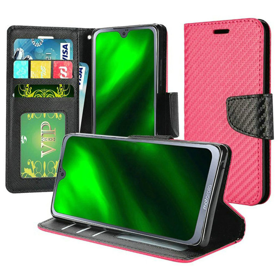 PU Leather Wallet Case with Carbon Fiber Texture for Motorola Moto G7 Power / Supra