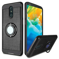 PC TPU Embossed Line Design Case with Magnetic Ring for LG Stylo 5
