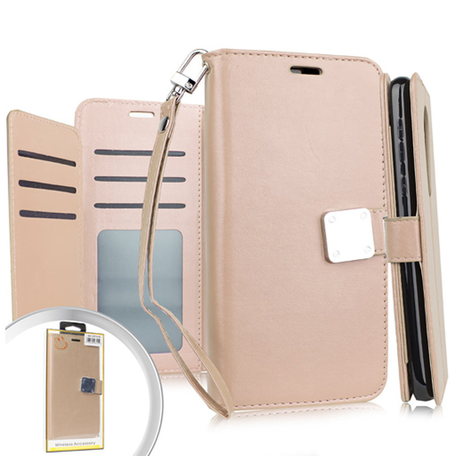 Hybrid PU Leather Metallic Flip Cover Wallet Case with Credit Card Slots for Coolpad Legacy