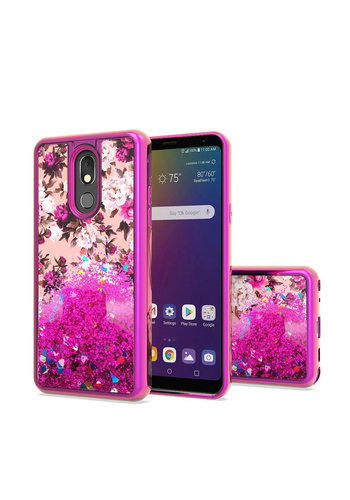 TPU Liquid Quicksand Glitter White Pink Flowers Design Case For LG Stylo 5