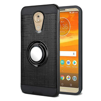 PC TPU Embossed Line Design Case with Magnetic Ring for Motorola Moto E6