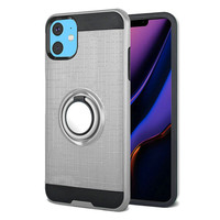 PC TPU Embossed Line Design Case with Magnetic Ring for iPhone 11