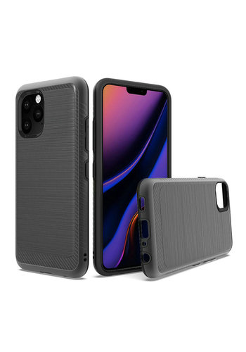 Metallic PC TPU Brushed Case with Carbon Fiber Edge for iPhone 11 Pro