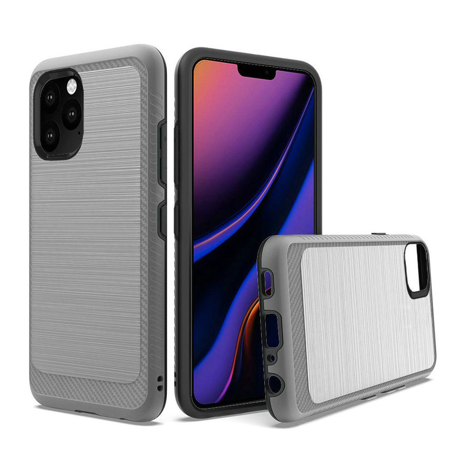 Metallic PC TPU Brushed Case with Carbon Fiber Edge for iPhone 11 Pro Max