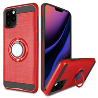 PC TPU Embossed Line Design Case with Magnetic Ring for iPhone 11 Pro