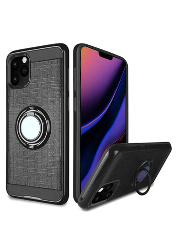 PC TPU Embossed Line Design Case with Magnetic Ring for iPhone 11 Pro Max