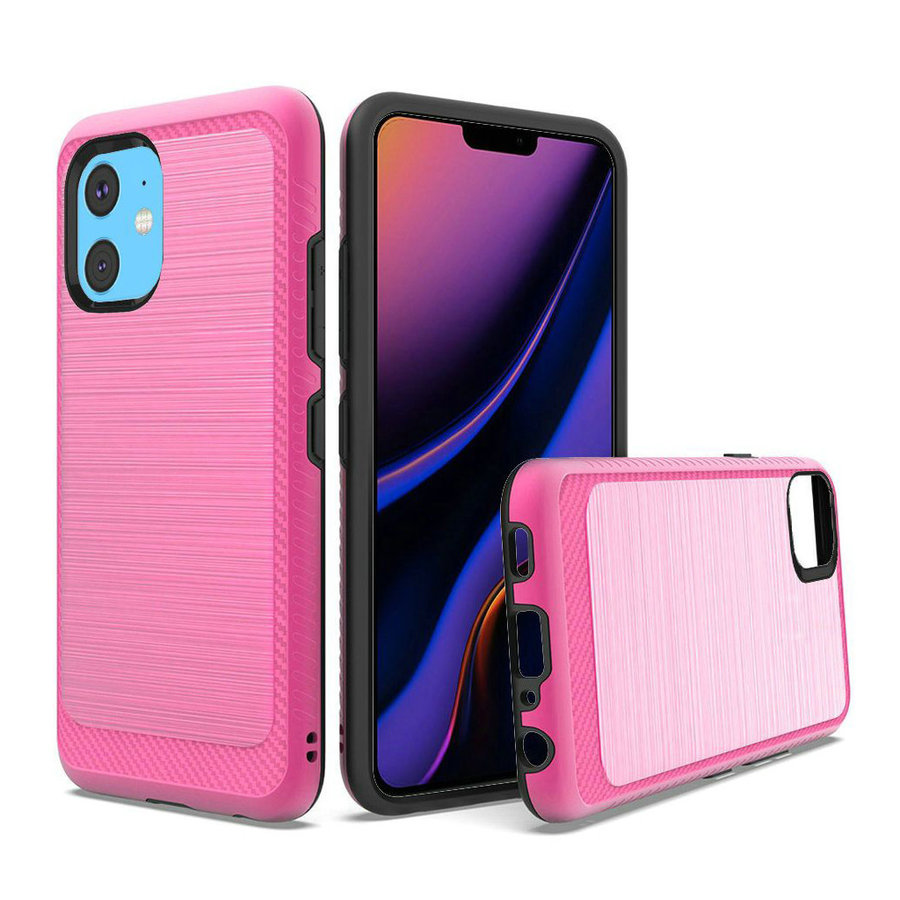 Metallic PC TPU Brushed Case with Carbon Fiber Edge for iPhone 11