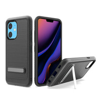 Metallic PC TPU Brushed Case Carbon Fiber Edge with Kickstand for iPhone 11