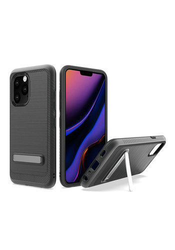 Metallic PC TPU Brushed Case Carbon Fiber Edge with Kickstand for iPhone 11 Pro